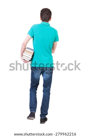 Back view of going  handsome man carries a stack of books. walking young guy . Rear view people collection.  Isolated over white background. A guy with a small stack of books out into the distance. - stock photo