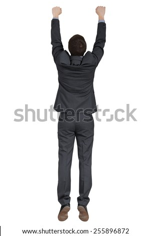 back view of hanging man in black suit. isolated on white background - stock photo