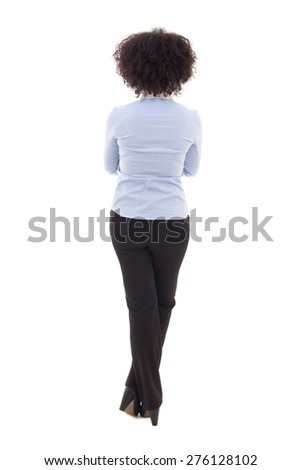 back view of happy african american business woman isolated on white background - stock photo