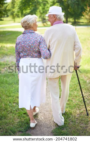Back view of happy senior couple talking while taking a walk in the park - stock photo