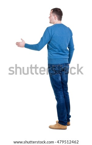 back view of man in movement reaches out to shake hands. Rear view people collection. backside view of person. Isolated over white background.