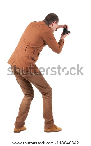 Back view of man photographing.   stylishly dressed in casual clothes photographer. Rear view people collection.  backside view of person.  Isolated over white background. - stock photo