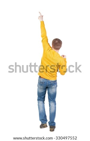 Back view of  man. Raised his fist up in victory sign.   Rear view people collection.  backside view of person.  Isolated over white background. A guy in a jacket dancing. - stock photo