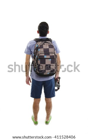 Back view of man with suitcase. Backside view of person. Guy with a travel bag on wheels looking at something at the top. Isolated on white background - stock photo