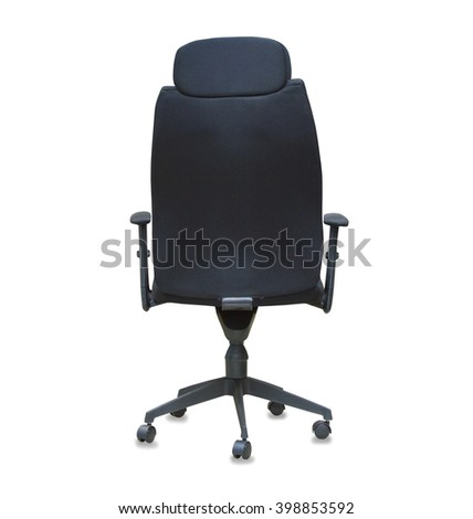 Back view of modern office chair from black cloth isolated over white - stock photo