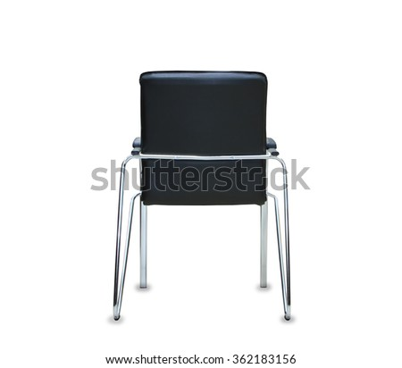 Back view of modern office chair from black leather. Isolated - stock photo