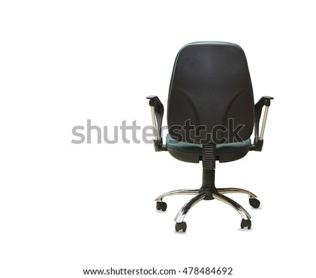 back view of modern office chair from gray cloth. Isolated