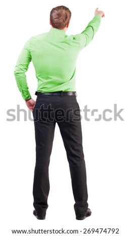 Back view of  pointing young business men in  pink shirt. blonde businessman  gesture. Rear view people collection.  backside view of person.  Isolated over white background.  - stock photo