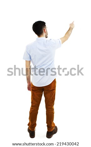 Back view of pointing young men in shirt and jeans. Young guy gesture. Rear view people collection. backside view of person. Isolated over white background.  - stock photo
