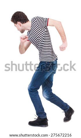 Back view of running man in brown shirt. Walking guy in motion. Rear view people collection. Backside view of person. Isolated over white background. The guy in the sailor suit dancing. - stock photo
