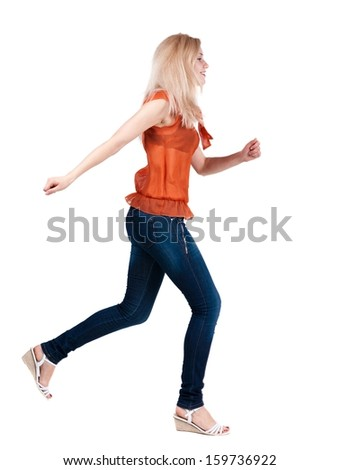 back view of running  woman. beautiful blonde girl in motion. backside view of person.  Rear view people collection. Isolated over white background. - stock photo