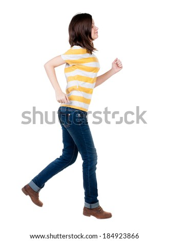back view of running  woman. beautiful brunette girl in motion. backside view of person.  Rear view people collection. Isolated over white background. - stock photo