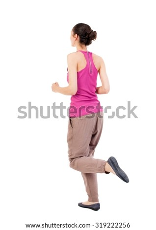 back view of running  woman. beautiful girl in motion. backside view of person.  Rear view people collection. Isolated over white background. African-American woman jogging - stock photo
