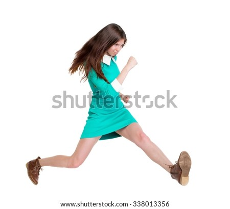 back view of running  woman. beautiful girl in motion. backside view of person.  Rear view people collection. Isolated over white background. purposeful girl in broad jump - stock photo