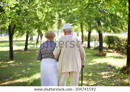 Back view of serene senior couple taking a walk in the park in summer - stock photo