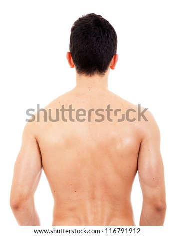 Back view of sexy muscular man, isolated on white - stock photo