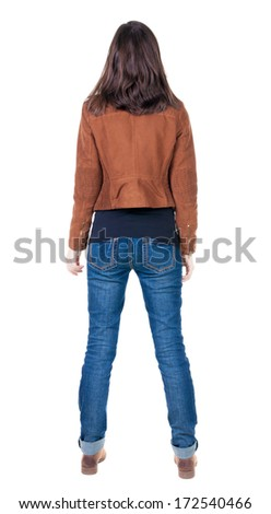 back view of standing young beautiful  brunette woman in brown jacket. girl  watching. Rear view people collection.  backside view of person.  Isolated over white background. - stock photo