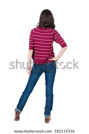 back view of standing young beautiful  brunette woman in red pullover. girl  watching. Rear view people collection.  backside view of person.  Isolated over white background. - stock photo