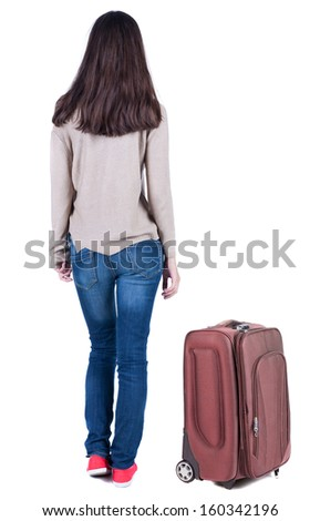 back view of standing young beautiful  brunette woman with backpack. traveling girl  watching. Rear view people collection.  backside view of person.  Isolated over white background.