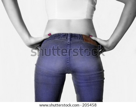 Back view of Teen wearing jeans, tinted black and white - stock photo