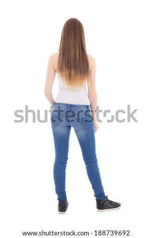 back view of teenage girl isolated on white background - stock photo