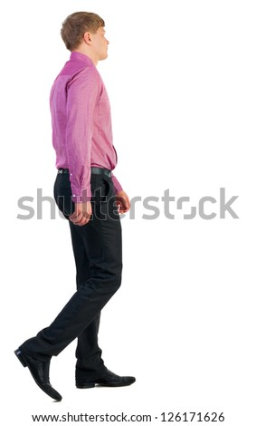back view of walking  business man.  going young guy in red shirt. Isolated over white background. Rear view people collection.  backside view of person. - stock photo