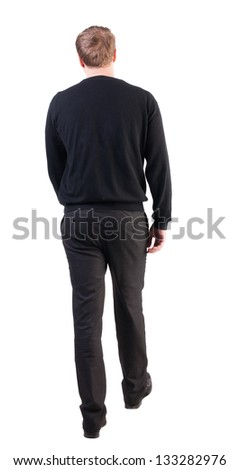 back view of walking  business man. going young guy in red shirt.  Isolated over white background. Rear view people collection.  backside view of person.  office worker in warm clothing goes ahead - stock photo