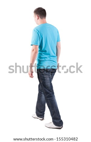 Back view of walking handsome man in t-shirt.   going young guy in jeans  Rear view people collection.  backside view of person.  Isolated over white background. - stock photo