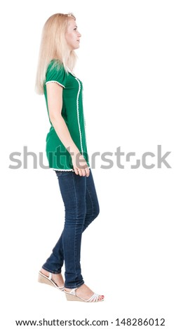 back view of walking  woman. beautiful blonde girl in motion.  backside view of person.  Rear view people collection. Isolated over white background.  - stock photo