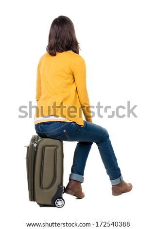 person sitting in chair back view png. Back View Of Walking Woman In Cardigan Sits On A Suitcase. Beautiful Girl Motion Person Sitting Chair Png D