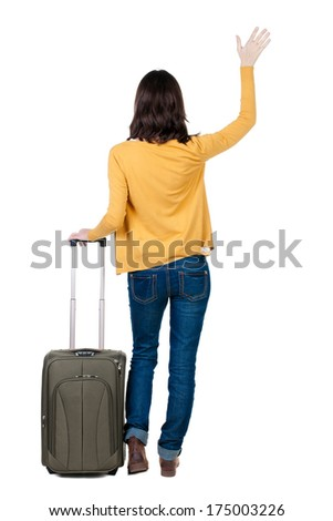 back view of walking  woman  in cardigan with suitcase welcomes . beautiful  girl in motion.  backside view of person.  Rear view people collection. Isolated over white background. - stock photo
