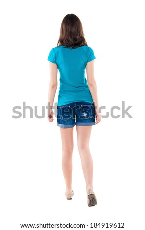 back view of walking  woman in shorts. beautiful brunette girl in motion.  backside view of person.  Rear view people collection. Isolated over white background. - stock photo