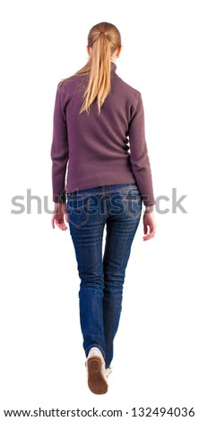 back view of walking  woman  in  sweater .Beauty gracefully went off.  beautiful blonde girl in motion.  backside view of person.  Rear view people collection. Isolated over white background. - stock photo