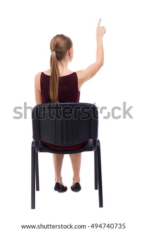 Back View Woman Sitting On Chair Stock Photo 494740735 ...
