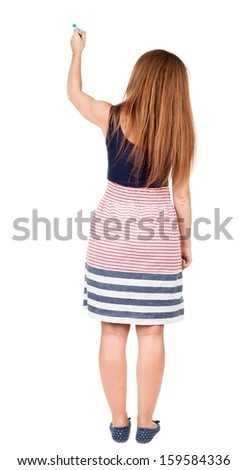 back view of writing beautiful redhead woman. Young girl in dress draws. Rear view people collection.  backside view of person. Isolated over white background. - stock photo