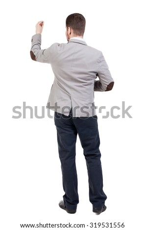 back view of writing business man in suit. Young in draws. Rear view people collection.  backside view of person. Isolated over white background. - stock photo