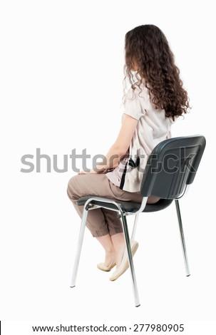 Back View Young Beautiful Woman Sitting Stock Photo