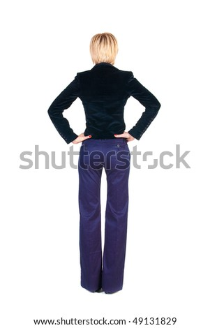 Back view of young blonde business woman. Rear view . Isolated over white.