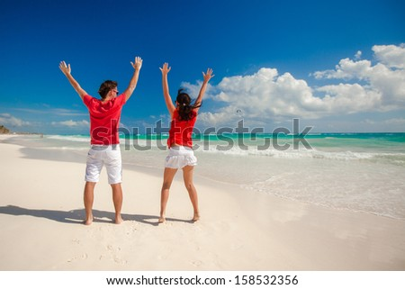 Back view of young couple spread their arms standing on white sandy beach