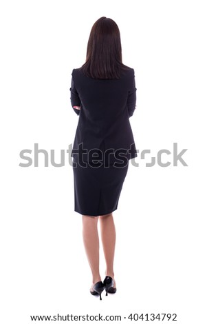 back view of young woman in business suit isolated on white background - stock photo