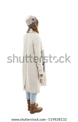 Back view of young women in winter clothes Rear view people collection. backside view of person. Isolated on white background.