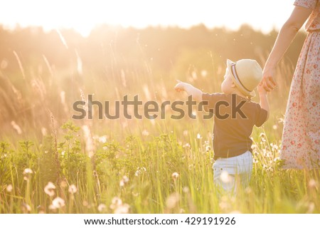 Back view on a cute little toddler boy in a straw hat holding his mother's hand and pointing into distance. Adorable child walking with his mom in the park on a sunny summer day. Family on sunset - stock photo