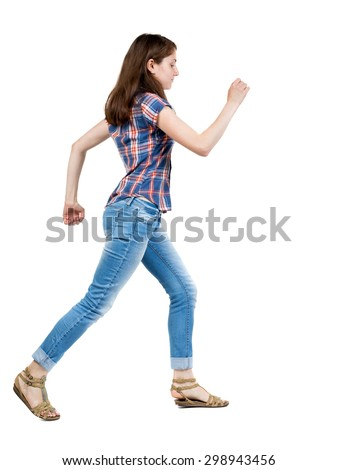back view running  woman in jeans. beautiful blonde girl in motion. backside view of person.  Isolated over white background. A young girl in a checkered blue with red stripes running waving his arms - stock photo