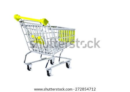 back view shopping trolley, isolated on white background - stock photo