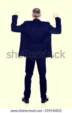 Back view successful businessman with arms up. - stock photo