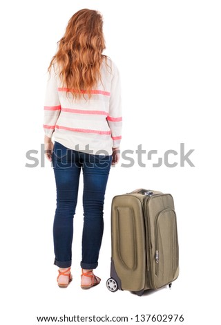 Back view woman with suitcase looking up. Standing young girl . Rear view people collection. backside view of person.  Isolated over white background.