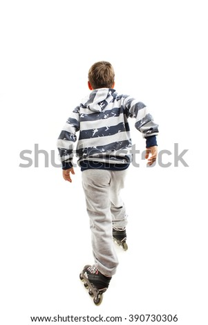 Back view young boy on rollers. Rear view. Isolated on white background - stock photo