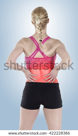 backache isolated on white with clipping path - stock photo