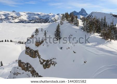 backcountry skiing - stock photo