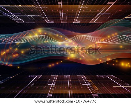 Backdrop composed of abstract sine waves and design elements and suitable for use in the projects on modern computing, virtual reality and signal processing